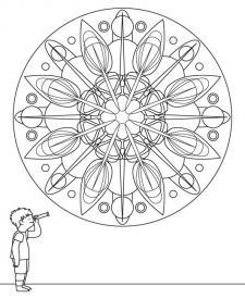 Mandala caleidoscópico: dibujo para colorear e imprimir