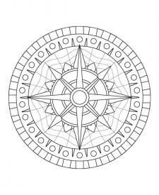 Mandala rosa de los vientos: dibujo para colorear e imprimir