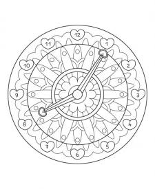 Mandala reloj: dibujo para colorear e imprimir