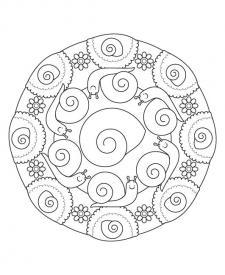 Mandala caracol: dibujo para colorear e imprimir