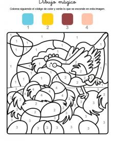 Dibujo mágico de una gallina de Pascua: dibujo para colorear e imprimir