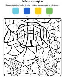Dibujo mágico de un pez bajo el agua: dibujo para colorear e imprimir