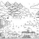 Dibujo de unir puntos de una liebre en el bosque: dibujo para colorear e imprimir