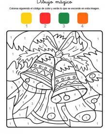 Dibujo mágico de campanas de Navidad: dibujo para colorear e imprimir