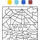 Dibujo mágico de un velero: dibujo para colorear e imprimir
