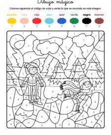 Dibujo mágico de niños patinando sobre hielo: dibujo para colorear e imprimir