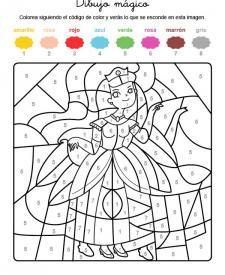 Dibujo mágico de una princesa con diadema: dibujo para colorear e imprimir