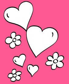 Corazones y flores: dibujo para colorear e imprimir