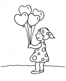 Globos con forma de corazones: dibujo para colorear e imprimir
