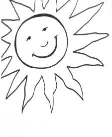 Sol sonriendo: dibujo para colorear e imprimir