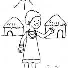 Niños de Africa: dibujo para colorear e imprimir