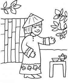 Niños de Asia: dibujo para colorear e imprimir