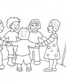 Niños de Europa: dibujo para colorear e imprimir