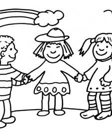 Niños y arco iris: dibujo para colorear e imprimir