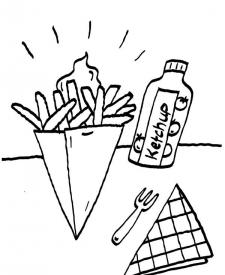 Patatas fritas: dibujo para colorear e imprimir