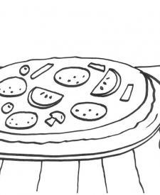 Pizza: dibujo para colorear e imprimir