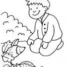 Niño y erizo: dibujo para colorear e imprimir gratis