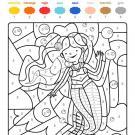 Dibujo mágico de una sirena bajo el agua: dibujo para colorear e imprimir