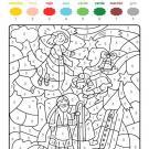 Dibujo mágico de ángel y pastor: dibujo para colorear e imprimir