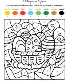 Dibujo mágico de huevos adornados: dibujo para colorear e imprimir