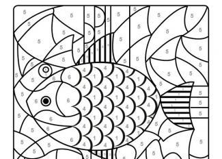 Dibujo mágico de un pez de colores: dibujo para colorear e imprimir
