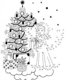 Dibujo de unir puntos de ángel en Navidad: dibujo para colorear e imprimir
