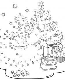 Dibujo de unir puntos de árbol en Navidad: dibujo para colorear e imprimir