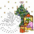 Dibujo de unir puntos de árbol en Navidad en color: dibujo para colorear e imprimir