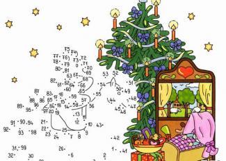 Dibujo de unir puntos de árbol en Navidad