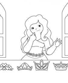 La corona de la princesa: dibujo para colorear e imprimir