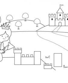 El castillo de la princesa: dibujo para colorear e imprimir