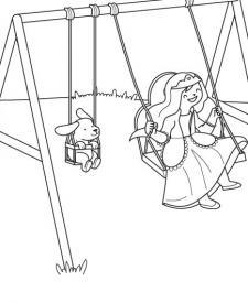 El columpio de la princesa: dibujo para colorear e imprimir