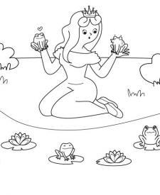 La princesa y las ranas: dibujo para colorear e imprimir