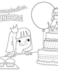 Cumpleaños de la princesa: dibujo para colorear e imprimir