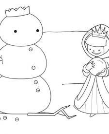 El muñeco de nieve de la princesa: dibujo para colorear e imprimir
