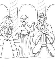 Fiesta de princesas: dibujo para colorear e imprimir