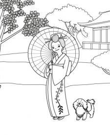 Princesa japonesa: dibujo para colorear e imprimir