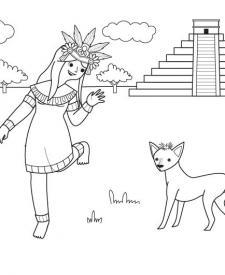 Princesa azteca: dibujo para colorear e imprimir