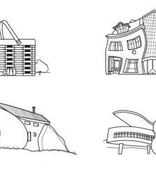 Edificios divertidos: dibujo para colorear e imprimir