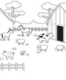 Una granja: dibujo para colorear e imprimir