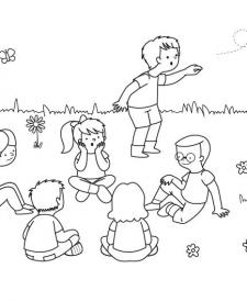 Juego del pañuelo: dibujo para colorear e imprimir
