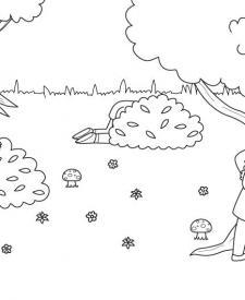 Juego del escondite: dibujo para colorear e imprimir