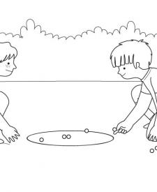 El juego de las canicas: dibujo para colorear e imprimir
