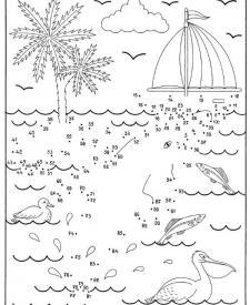 Dibujo de unir puntos de una playa: dibujo para colorear e imprimir