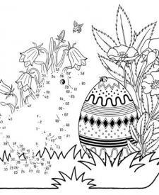 Dibujo de unir puntos de un polluelo de Pascua: dibujo para colorear e imprimir