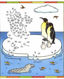 Dibujo de unir puntos de pingüinos en color: dibujo para colorear e imprimir