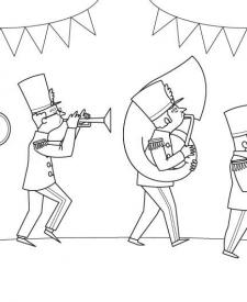 Banda de música: dibujo para colorear e imprimir