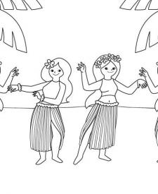 Bailarinas hawaianas: dibujo para colorear e imprimir