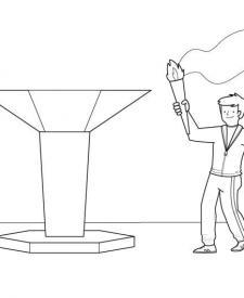 Llama olímpica: dibujo para colorear e imprimir