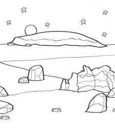 Paisaje marciano: dibujo para colorear e imprimir